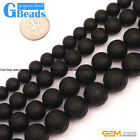Natural Black Agate Gemstone Frost Round Beads For Jewelry Making Free Shipping