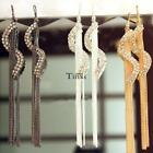 Women Crystal S Shaped Earrings Long Chain Tassel Hook Earrings Fashion TXCL