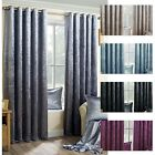 Modern Plain Luxury Crushed Velvet Ring Top Eyelet Pair Ready Made Curtains