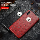 For iPhone X 6S 7 8 Plus Luxury Ostrich Grain Leather Magnetic Back Case Cover