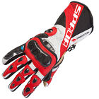 Spada Predator 2 Leather Summer Race Motorcycle Gloves Carbon Knuckles - Red