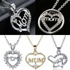 Crystal Mom Mum Heart Pendant Necklace Jewellery Grandmother Mother's Day Gift