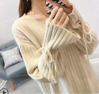 Women Korean Fashion V-Neck Sexy Solid Bow Knot Knit Shirt Pullover Sweater