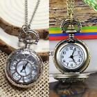 Men Women Flower Carved Hollow Quartz Pocket Watch Necklace Pendant K0E1