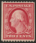 US #349 2c Washington Perf.12 DLW MH,OG Stamp