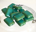 Per sian Turquoise Picasso Rectangle Czech Window Cut Glass Beads VAR2 12/24