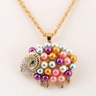 Charm Gold Plated Crystal Pearl Sheep Pendant Women Long Chain Sweater Necklace