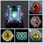 925 Sterling Silver Colorful Zircon Topaz Cocktail Gemstone Ring Wedding Jewelry $2.02 USD