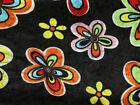 Flower Print Velour Knit Dress Fabric (EM-FlowerPowerCrushedVelvet-Black-M)