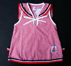 BABY GIRL SAILOR DRESS Red White Check Cotton Baby Clothing Night Wear Casual