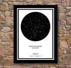 Personalised Star / Sky Night White Map Black Framed Poster Print Any Occasion!