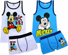 Boys New Mickey Mouse Vest And Boxers Set Disney Character Kids Underwear Age3-8