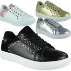 Ladies Running Trainers Womens Studded Flat Sneakers Comfy Lace Up Shoes Size
