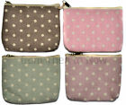 Vintage Design Fabric Zip Coin Purse Make Up Case Spotty Washed Polka Dot Chic