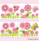 Внешний вид - Butterfly Ladybug Wallpaper Border Wall Art Decals Girl Nursery Floral Stickers