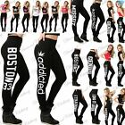 Ladies Womens Girls Full Length Boston Addicted Gym Stretch Printed Fit Leggings