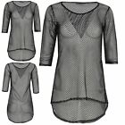 Womens Ladies Round Neck Fish Net 3/4 Sleeve See Through Curved Hem Hi Lo Top