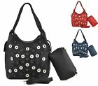 LADIES WOMENS FAUX LEATHER DAISY CUT OUT LARGE BUCKET PURSE SET SHOULDER HANDBAG