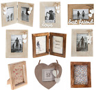 Natural or White & Dark Wood Single Double Photo Frames Frame Home Decoration