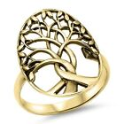 Yellow Gold Plated Plain Tree Of Life .925 Sterling Silver Ring Sizes 4-12