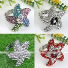 1x Crystal Rhinestone Starfish Cocktail Ring Adjustable Women Party Jewelry Gift