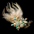 Beautiful Colorful Multi-shaped Crystal Beads & Feather Brooch / Hair Clip