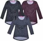 Girls New Long Sleeve Butterfly Top Kids Leather Trim T shirt Jumper Age 2-12 Yr