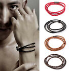 Men Faux Leather Bracelets Charm Bangle Handmade Round Rope Wristband Gift Hot