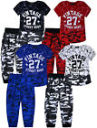 Boys New Camo T-Shirt And Jogging Bottoms Set Kids Sport Tracksuit Age 3-14 Yrs