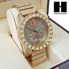 HIP HOP TECHNO KING ICED SET Iced RAPPER 14K GOLD PLATED WATCH L16