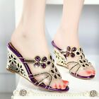 Summer Womens Rhinestones Sandals Wedge Heels Hollow Out Party Shoes Slippers