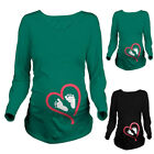 Women Pregnant Baby Foot Love Heart Print Maternity Long Sleeve T-Shirt Clothes