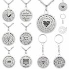 Stainless Steel Family Mom Dog Tag Pendant Necklace Keychain Mother's Day Gift