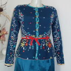Ivko Knitwear Strickjacke Jacke blau Cadrdigan Seide Embroidered Silk sma 41510