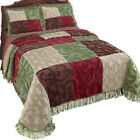 Colorful Patchwork Chenille Fringe Lightweight Bedspread, by Collections Etc image