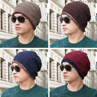 Men Outdoor Warm Winter Stretch Cable Knitted Woolon Lined Thick Beanie Hat Cap