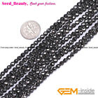 """Natural Faceted Black Hematite Healing Stone Spacer Beads for Jewelry Making 15"""""""