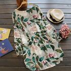 Fashion Women Round neck floral Printed Tunic Tops Shirt Mini Short sleeve Dress