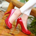 Women Round Toe Casual Shoes Lady Stiletto High Heel Patent Leather Pump Slip ON