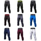 Men Tights Running Workout Sports Compression 3/4 Pants Base Layer Trousers USA