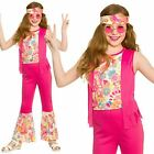 Hippie Girls Fancy Dress 70s 60s Groovy Funky Hippy Childs Kid Costume Ages 3-13