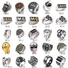 Wholesale Mens Stainless Steel Gothic Punk Skull Biker Rings Jewelry lots 8-14