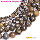 """Natural Brown Artistic Jasper Stone Round Loose Beads for Jewelry Making 15"""""""