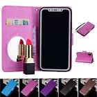 Mirror Case PU Leather Wallet Flip Folio Stand & Card Slot Cover for iPhone X