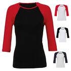 BELLA BABY RIB 3/4 SLEEVE CONTRAST BASEBALL TEE 100% COTTON T-SHIRT S-XL BL2000