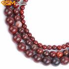 "Natural Round Dark Red Poppy Flower Jasper Stone Beads For Jewelry Making 15"" GI"