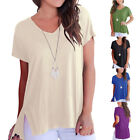 S-2XL Women's Summer Casual Loose T-shirt V-neck Tee Tops Bouse with Side Split