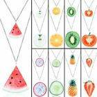 Fruit Double Layer Watermelon Strawberry Pineapple Pendant Necklace Jewelry New