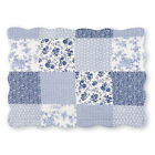 Willow Floral Check Patchwork Bed Pillow Sham with Scalloped Edges image