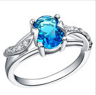 Amazing Blue Crystal Chic Pure 925 Sterling Silver Ring Size 7 Jewelry A1094